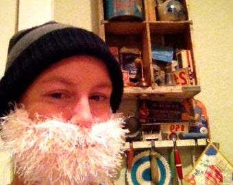 Fuzzy Beard In PINK Hand Crochet, Beard and Mustache Only - Use With Any Beanie