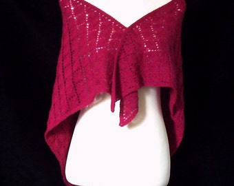 Sale. Hand knitted women's lacy cyclamen triangular shawl / wrap.