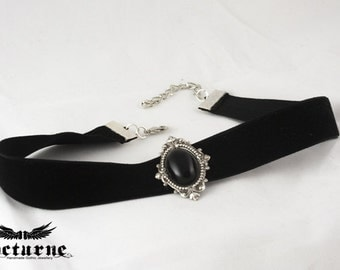 Gothic Choker - Ornate Silver Frame with Black Onyx Stone - Victorian Gothic Jewelry