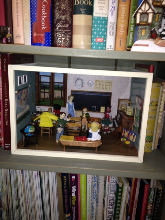 Miniature Children S Bedroom Room Box Diorama: CLASSROOM Elementry A Diorama Room Box By LauraJeanDolls