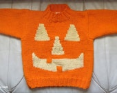 Pumpkin Sweater and Candy Corn Toy- Pumpkin Costume - Hand Knit and Crochet - Child Size 4 to 5 - Boy or Girl -Night Safety Color -Item 3045