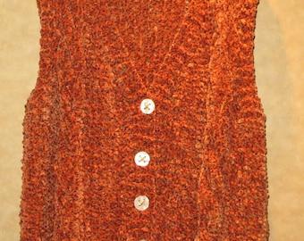 Cable Knit Copper Vest - Plus Size Ladies - Side Vents for Comfortable Fit - Soft Hand Knit - Item 3030