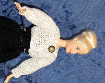 Fashion Doll Formal Gown with Jacket - Hand Crochet Doll Clothes - Item 1301