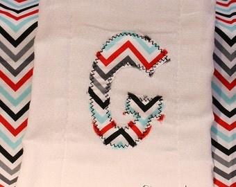 Custom Monogram Chevron Burp Cloth Great Baby Gift Shower Gift