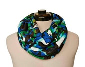 Mod Infinity Circle Scarf, Dark Black Blue Turquoise Green Brown silver Cowl Neck Wrap