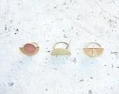 Minimalist Geometric Rings Art Deco Design Half Circle
