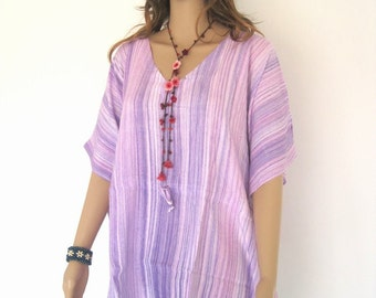 Purple Bali Batik Stripes Top Tunic Kaftan Caftan Dress Blouse Loungewear Cover Up Bridesmaids Beach Summer Pregnant Regular Size 1X 2X 3X