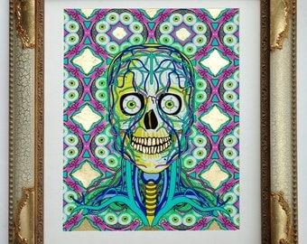 Kal-Eye-De-Skull Icon Series with 24 CT Gold Leaf Framed