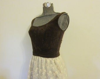 vintage MAXI dress 1960s  long LANZ  brown and cream S boho chic