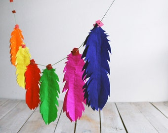Rainbow Feather Garland, Gay Pride Party Decor, Fun Colorful Vintage paper Ornaments, Birthday Decoration