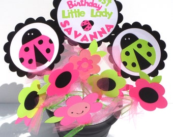 Ladybug Themed Party Centerpiece Sticks Set of 8 Personalized With Name and Age
