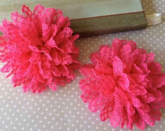 "Fushia hot pink Fabric Flowers  Set of Two -Lace Flowers - 3.5"" Wholesale flowers supplies Headband Flowers soft lace large hair flowers"