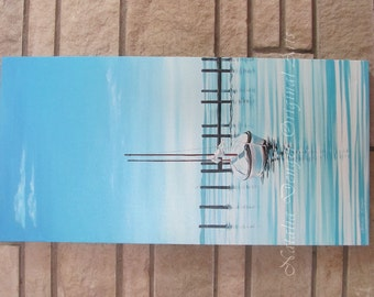 "Large ORIGINAL Painting 30x15"", Marina, Water View, Yacht, Boat, Seascape, Blue Sky, White, Blue, Family Room, waterview"
