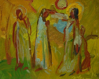 Blessing - original oil painting on paper by russian artist