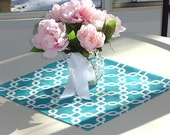 Teal Gotcha Table Square Topper for Wedding Decor, Birthday Parties, Party Decor, Holidays