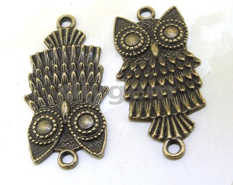4PCS  Charm Two Loop Owl Base Pendant Beads Bronze Plated Brass Jewelry Filigree Link Findings Metal Pendant Earwire Beads 38mmx18mm  O