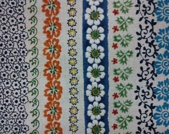 Floral stripe, blue, fat quarter, pure cotton fabric