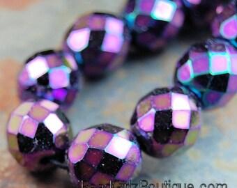 10mm Purple Iris Czech Beads Faceted  -10