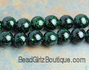 Green Goldstone Beads 4mm round -15 inch strand