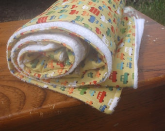 Baby Blanket for Boy -  Green Print with Cars and Buses with White Faux-Chenille Backing