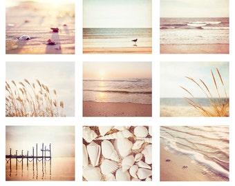 Beach Photo Set, 9 11x14, 8x10, 5x7 Photographs, cream beige light brown pale peach white ocean wall print sea seashore coastal photography