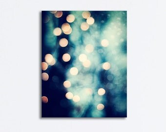 """Abstract Canvas Photography - bokeh lights navy blue beige gold dark sparkly gallery wrapped sparkle wall art print, """"Let Your Light Shine"""""""