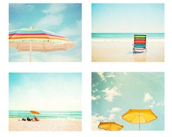 Colorful Beach Photography Set - aqua blue teal yellow red orange turquoise prints ocean sea seashore wall art, Four 11x14, 8x10 Photographs