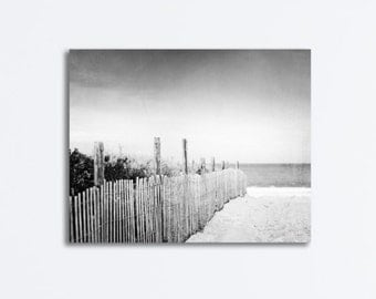 "Beach Dune, Black and White Canvas Print - grey coastal wall art gray large seaside photography neutral seashore photo, ""Down to the Sea"""