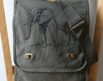Elephant Messenger Bag Screen Printed