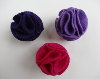Felt Blossom Cat Toy Ball - Set of 3