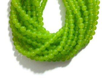 Electric Lime Green Jade - 6mm Round Bead - 61 beads - Full Strand - bright green - translucent dyed stone