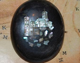 Antique Circa 1870 Victorian Inlaid Tortoiseshell Welsh Castle Brooch