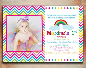 Chevron Over The Rainbow Birthday Invitation, Chevron Rainbow Birthday Invite, Rainbow Birthday Invite-Digital File You Print