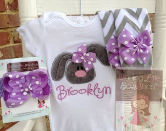 Baby Girl Easter Outfit -- Bashful Bunny -- Easter Bunny bodysuit, leg warmers and polka dot bow -- gray and lavender