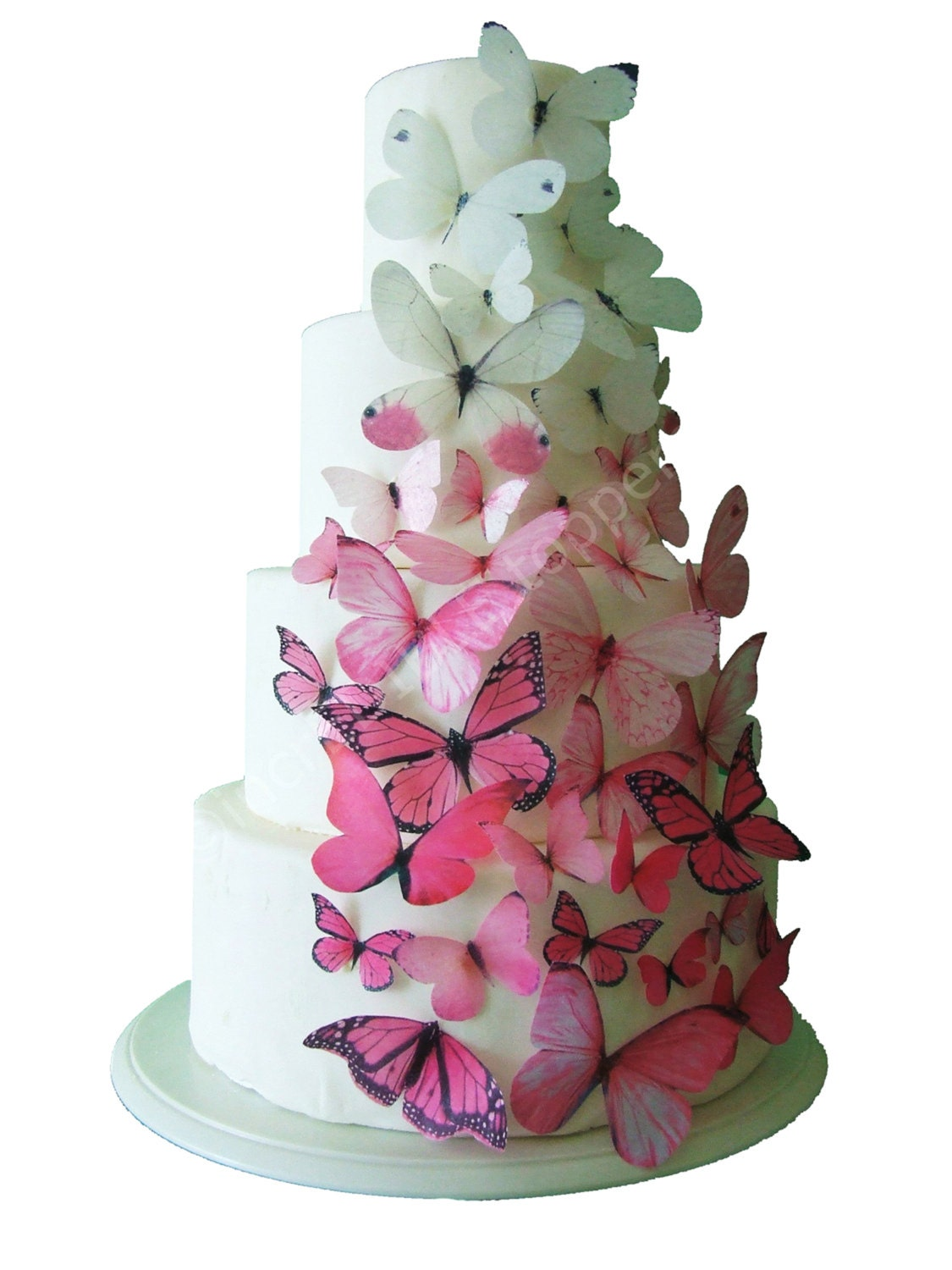 Incredible toppers ombre edible butterflies in pink cake for Decoration stuff