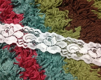 """Pure White Stretch Lace 1.5"""" 3 yards"""