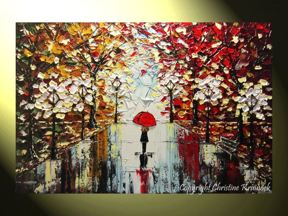 Original art abstract painting trees girl red umbrella rain for Painting red umbrella
