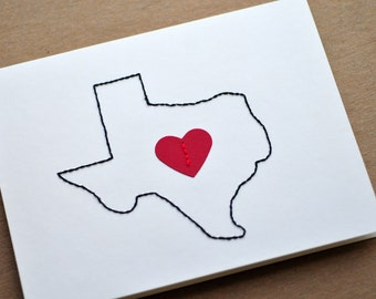 With Love From Texas Card // Greeting Card // Hand Sewn // Thinking of You // Just Because // Love Note