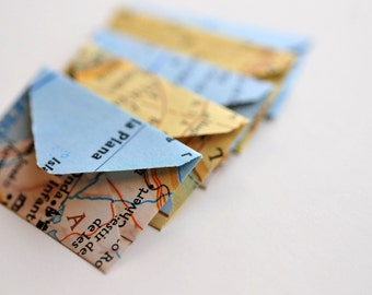 Tiny Map Envelopes // Set of 10 // Love Note // Embellishment // Decoratoin // Journal Pages // Scrapbooking // Paper Crafting