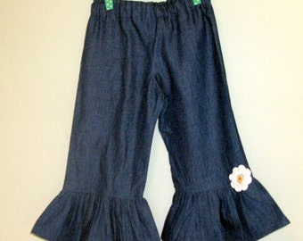 Girls Denim Ruffle Pants Boutique Style Blue Jean Ruffle Pants Stretch Denim