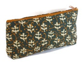 Hand block printed cotton quilted cosmetic pouch small bag case green orange beige leaves vines print zipper