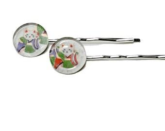 Pair of bobby pins 3/4 inch circle SAMURAI CATS glass circles 1/2 inch hair pins barrettes good luck