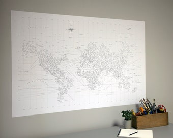 "38"" x 58"" Typographic World Map Adhesive Wall Print"