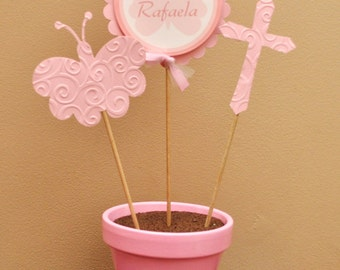 Pink Butterfly and Cross Potted Table Top Centerpiece for Baptism and Christening Celebrations