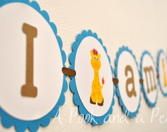 Boy Giraffe I am 1 First Birthday High Chair Banner Decoration Brown Blue Yellow