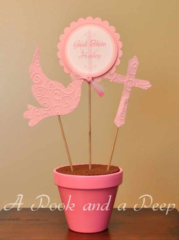 Pink cross dove baptism christening personalized customizable