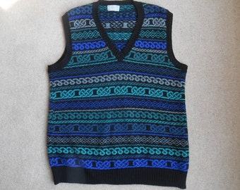 XL Handmade blue v neck blue fairisle wool tank sweater WW2 style