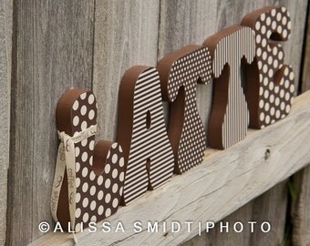 Decorated Wooden Letters Latte Coffee Theme Kitchen Decor Custom Letters Wood