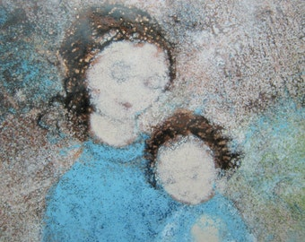 vintage 1950's enamel on copper mother and child  miller