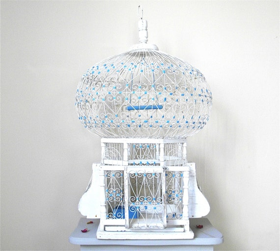 Gorgeous Bird Moroccan Cage White And Blue Romantic Bird